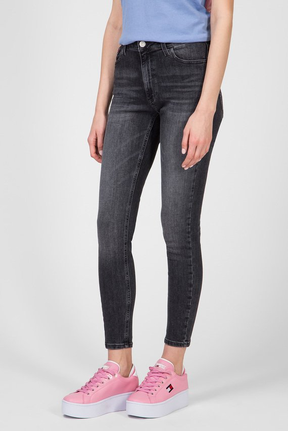 Женские темно-серые джинсы SANTANA HIGH RISE SKINNY