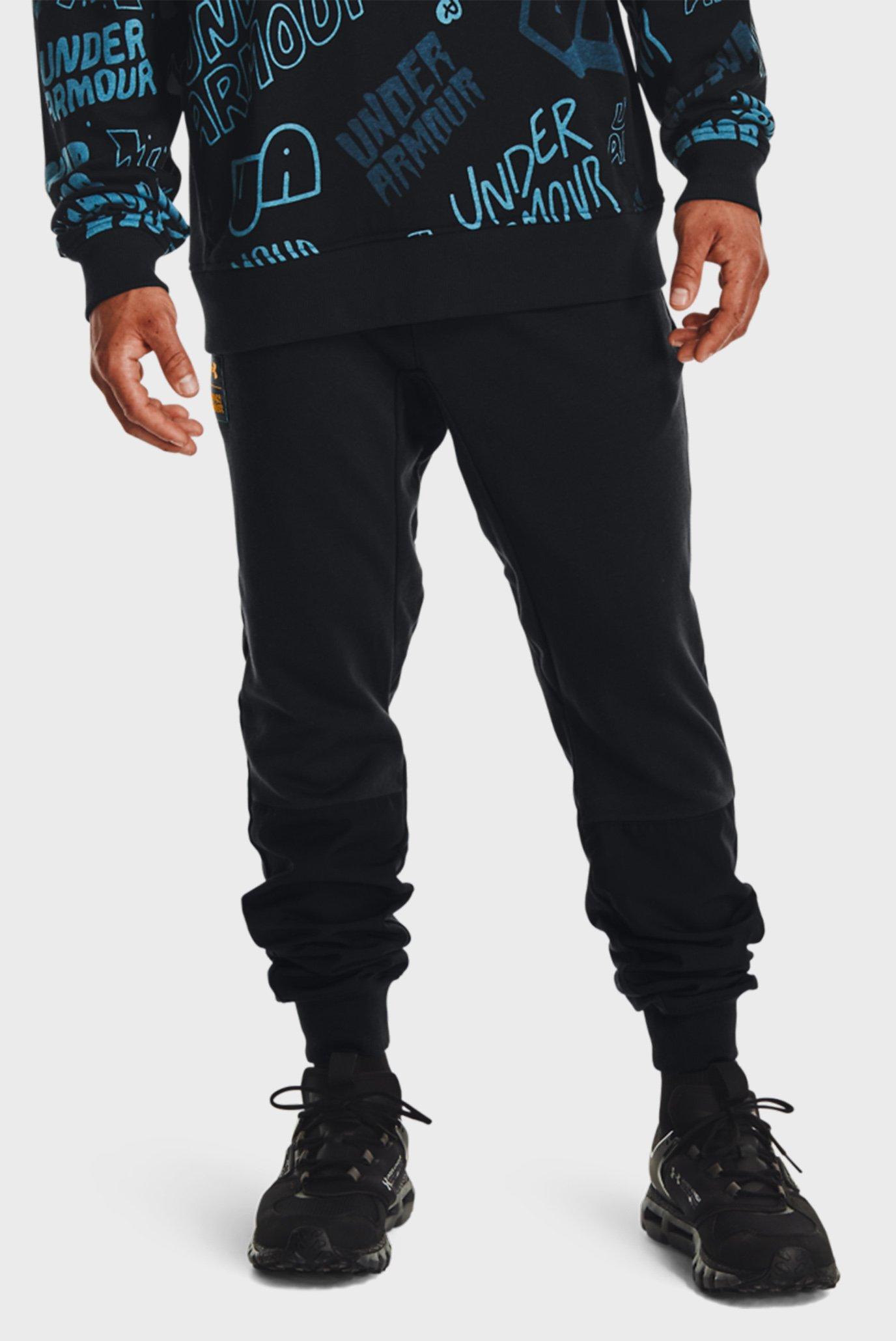 Мужские черные спортивные брюки UA RIVAL TERRY SCRIBBLE PANT 1