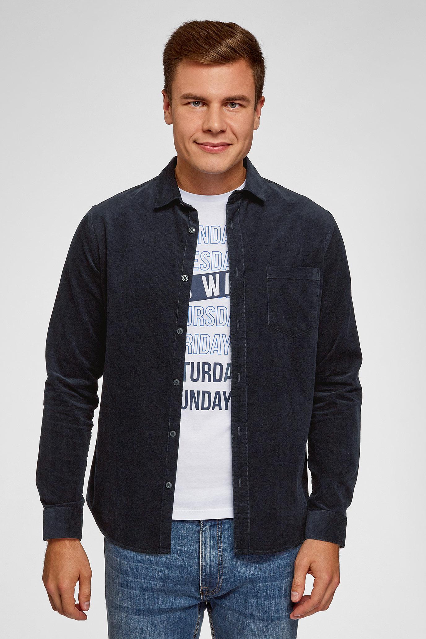 Мужская синяя вельветовая рубашка Oodji