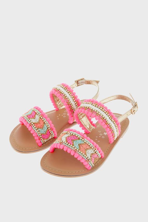 Детские розовые сандалии SANTORINI BEADED POM