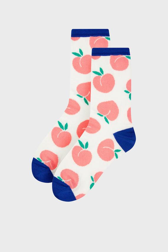 Женские белые носки Peaches All Over Ank