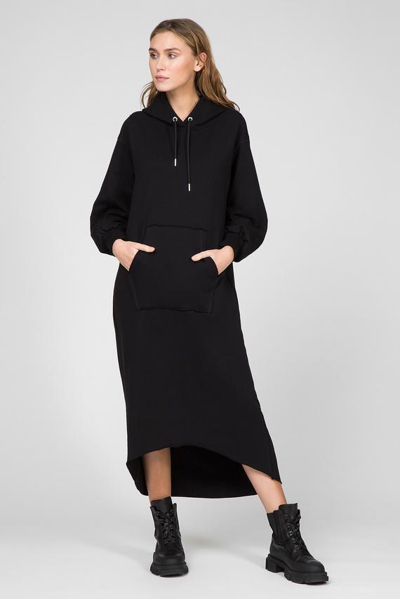 Женское черное платье-худи D-ILSE-TWIST-COPY