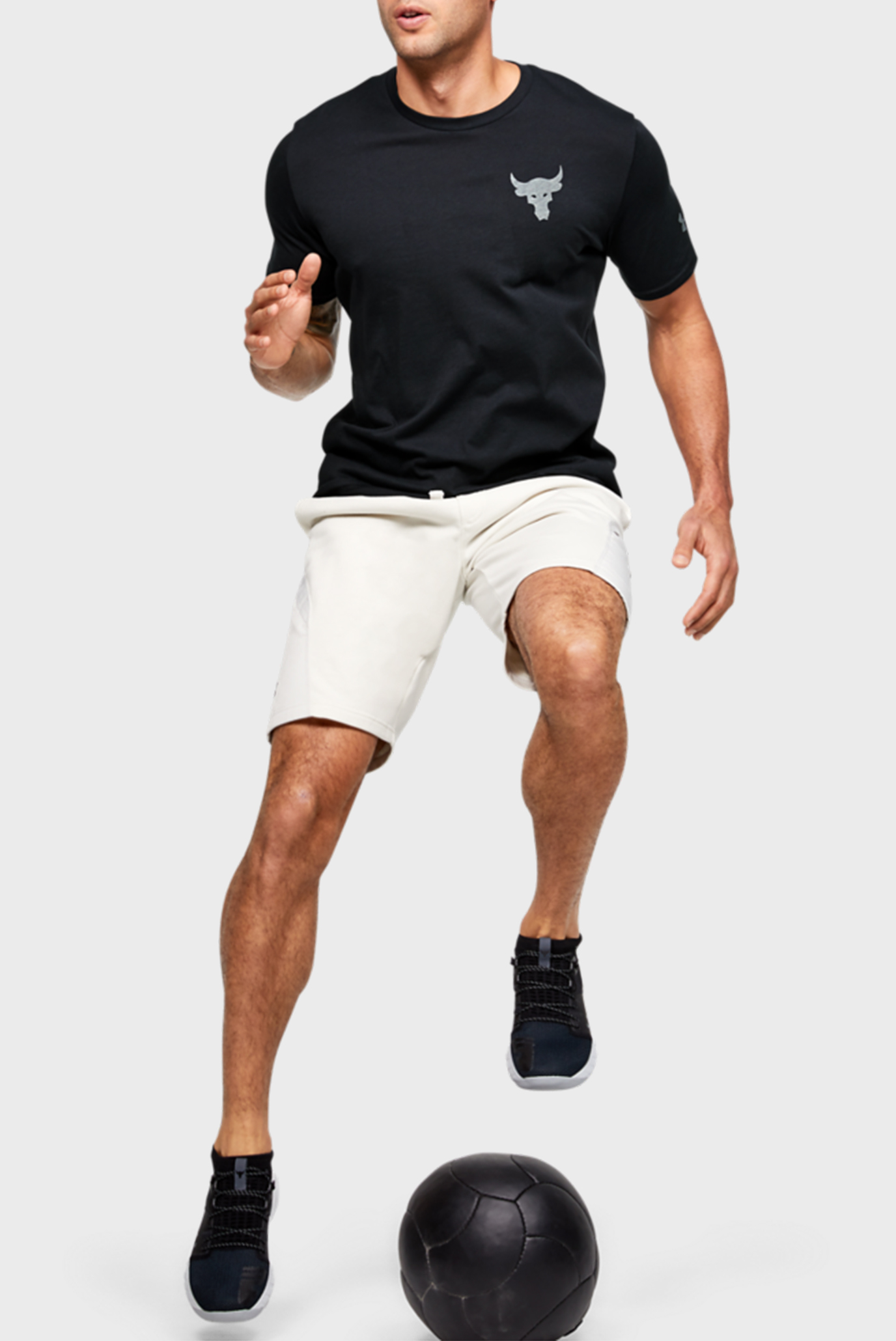Мужская черная спортивная футболка Project Rock Snake SS Under Armour