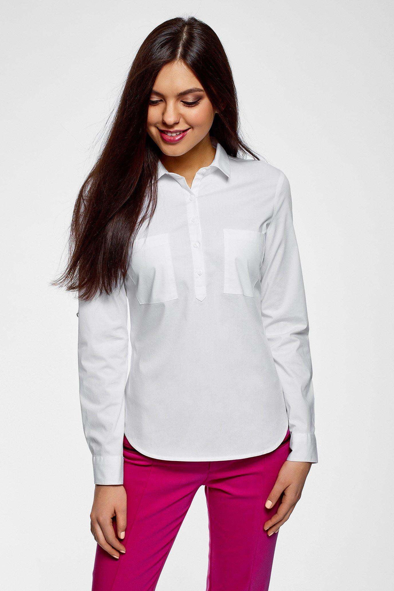 24fcb200aa108d2 Купить Женская белая рубашка Oodji Oodji 13K03002-1B/42468/1000N – Киев,  Украина. Цены в интернет магазине ...