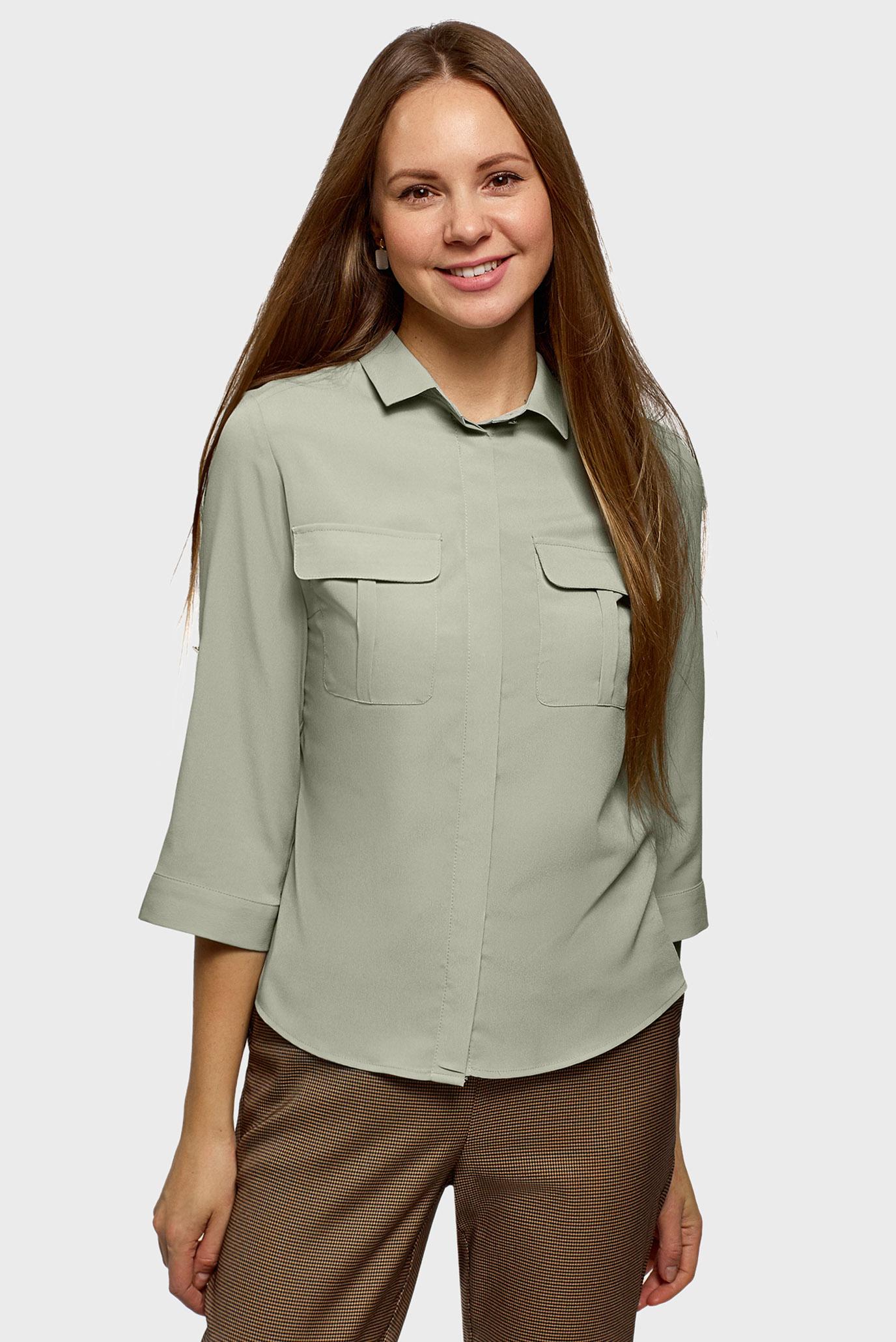 Женская зеленая блуза 1