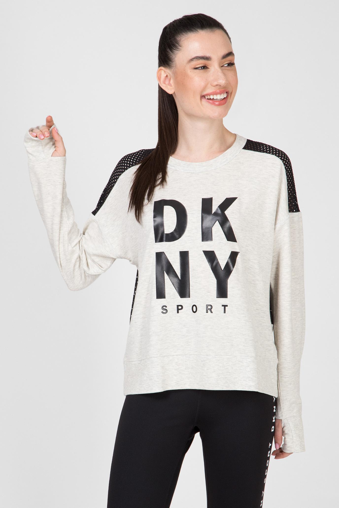 Женский серый лонгслив MESH PIECING DKNY