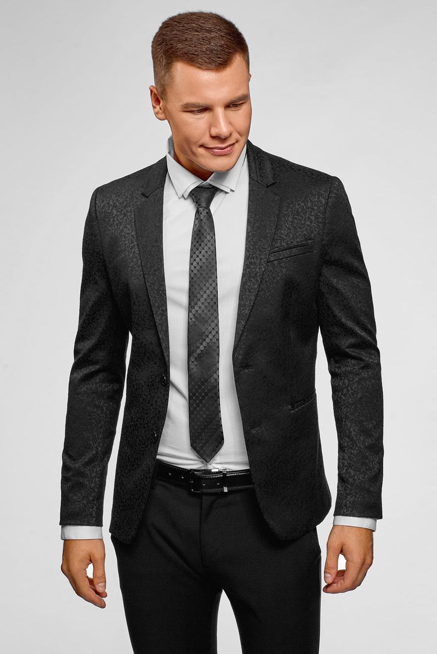 Мужской черный пиджак с узором