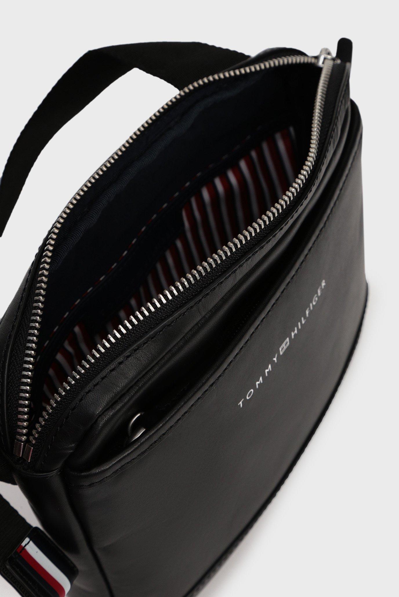 Мужская черная кожаная сумка через плечо CASUAL LEATHER Tommy Hilfiger