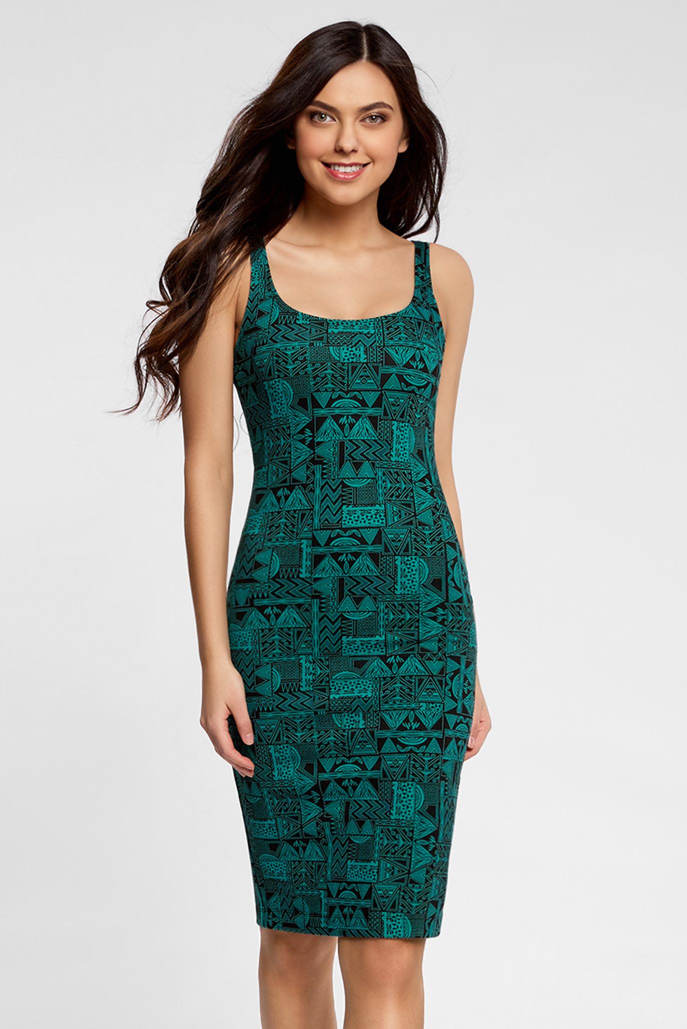 Купить Женское зеленое платье на тонких бретелях Oodji Oodji  14015007-3M 37809 296DG – Киев, Украина. Цены ... 883c5ac6b13