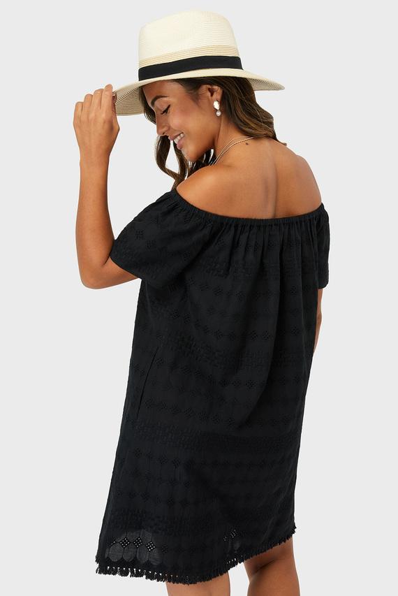 Женское черное пляжное платье