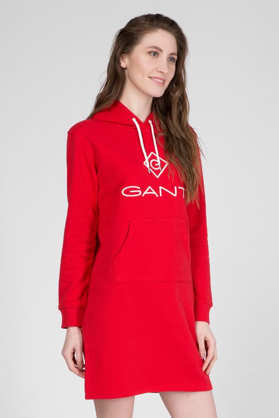 Женское красное платье-худи