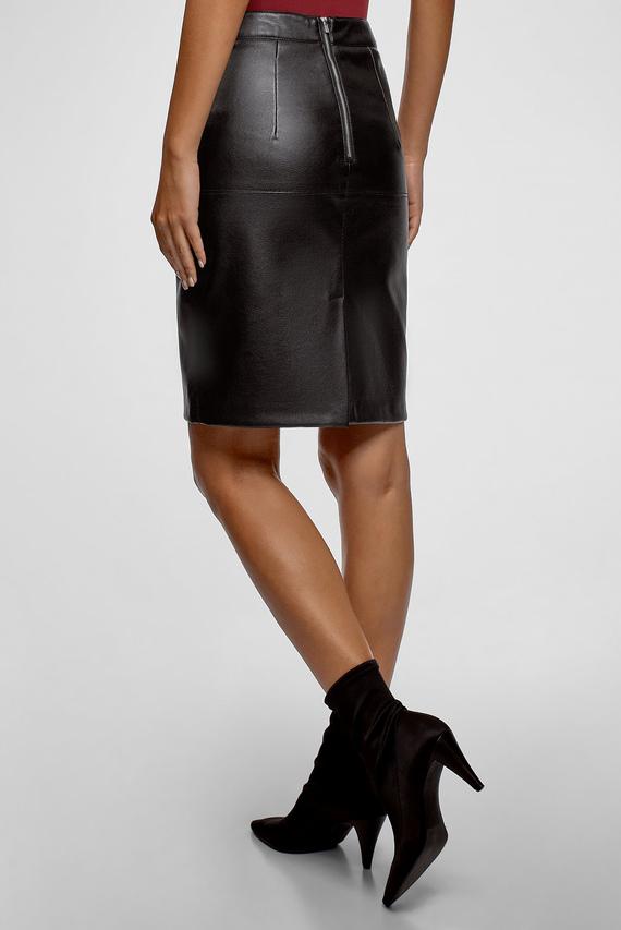Женская черная юбка-карандаш из искусственной кожи