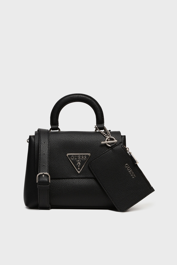 Женская черная сумка через плечоARETHA TOP HANDLE FLAP