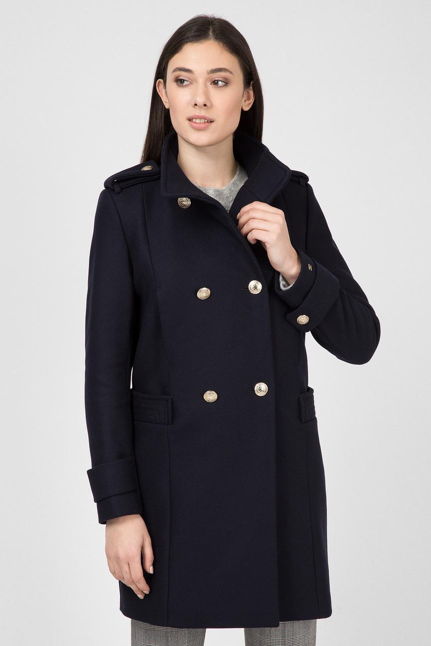 Женское темно-синее шерстяное пальто BELLE