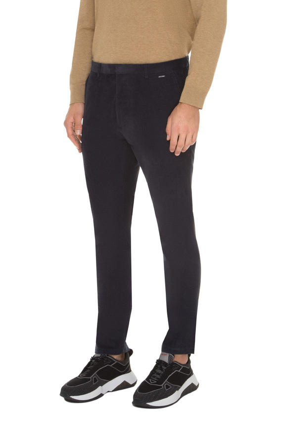 Мужские темно-синие вельветовые брюки