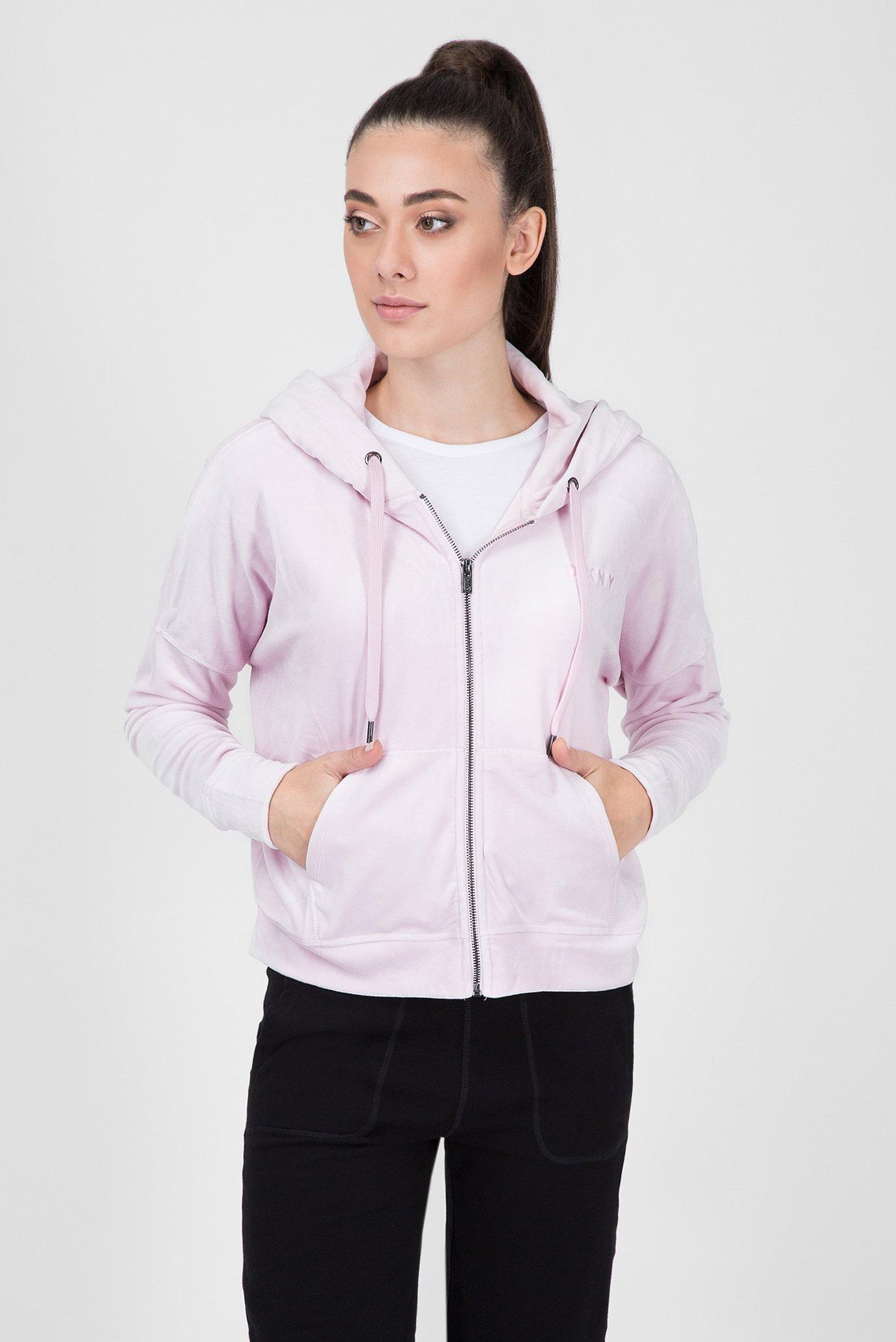Купить Женское розовое велюровое худи DKNY DKNY DP8J8260 – Киев, Украина.  Цены в интернет магазине MD Fashion 86fbf68a3a2
