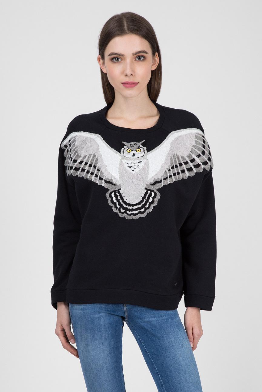 Женский черный свитшот с вышивкой