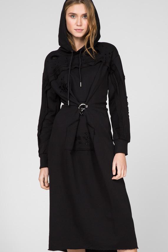 Женское черное платье-худи D-ILSE-ROUCHE-A