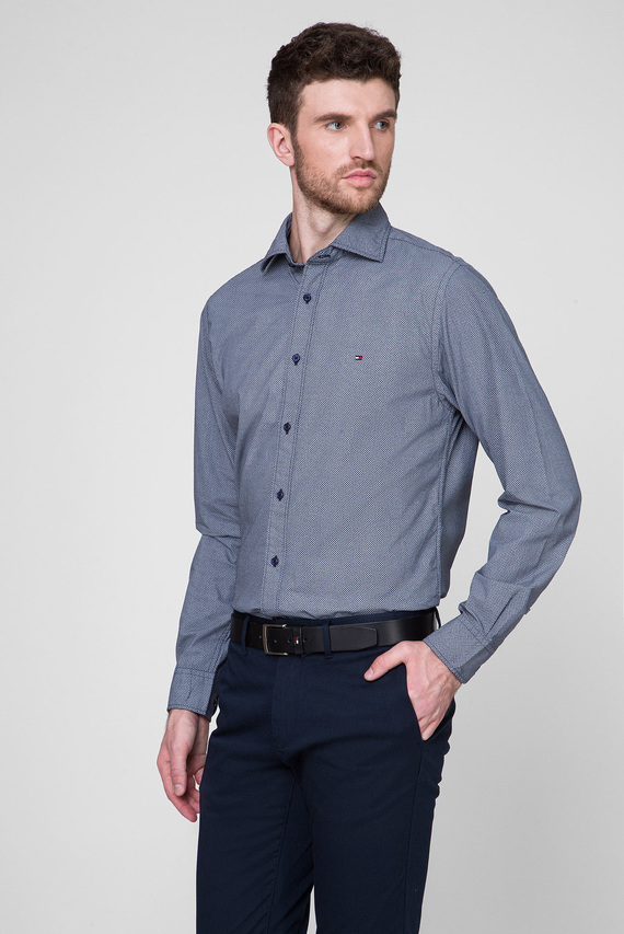 Мужская синяя рубашка с принтом FAKE SOLID
