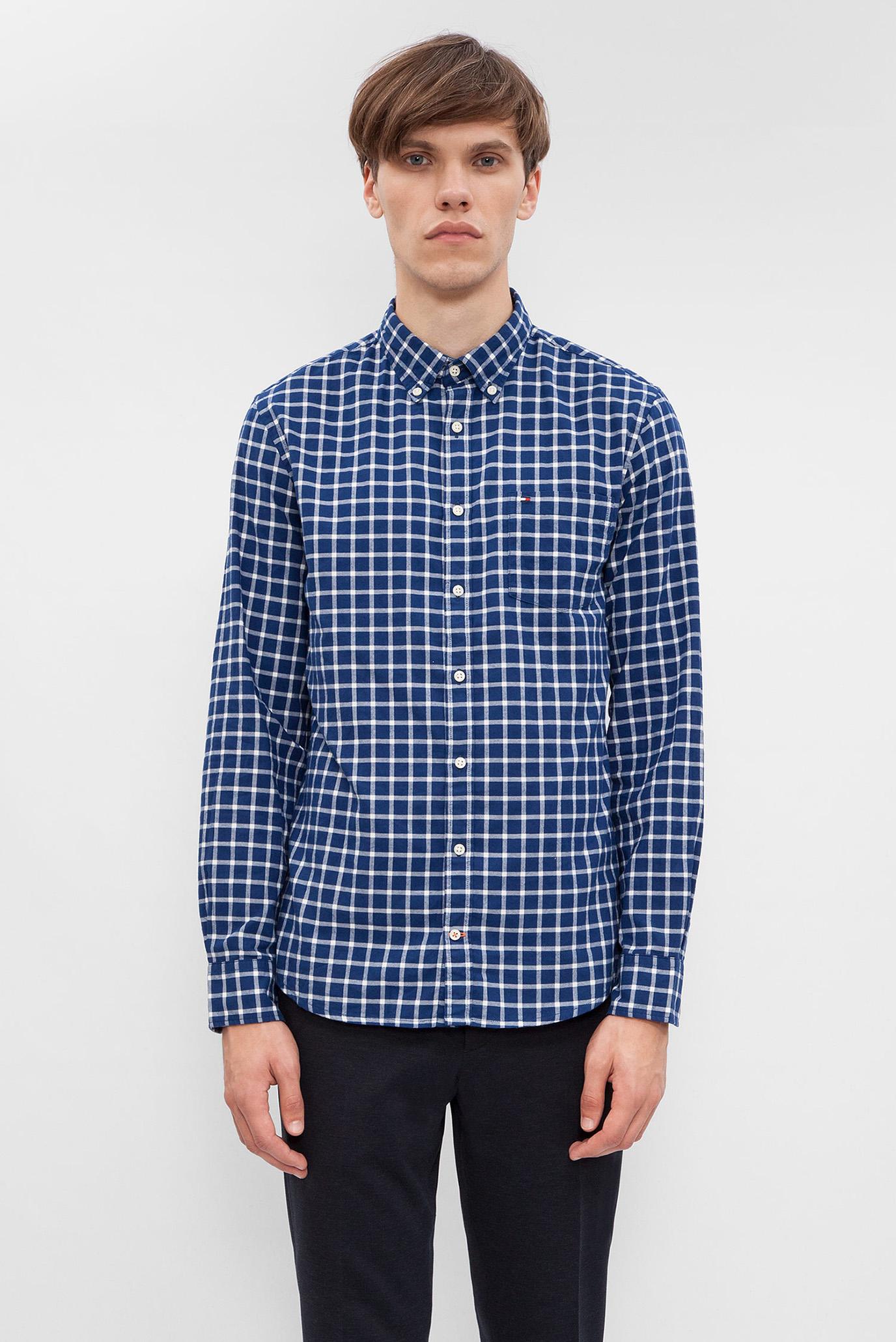 ec119139b65 Купить Мужская синяя рубашка в клетку Tommy Hilfiger Tommy Hilfiger  MW0MW03041 – Киев