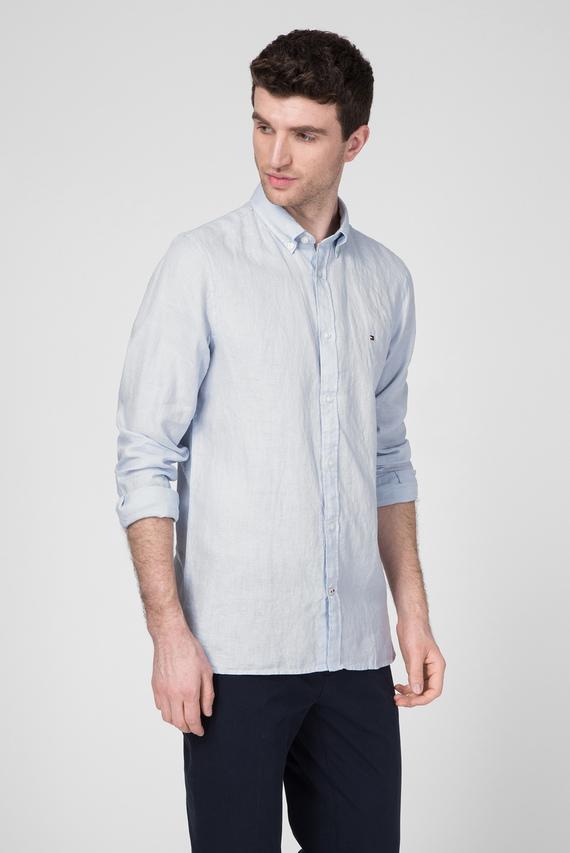 Мужская голубая льняная рубашка SLIM SOLID LINEN SHIRT