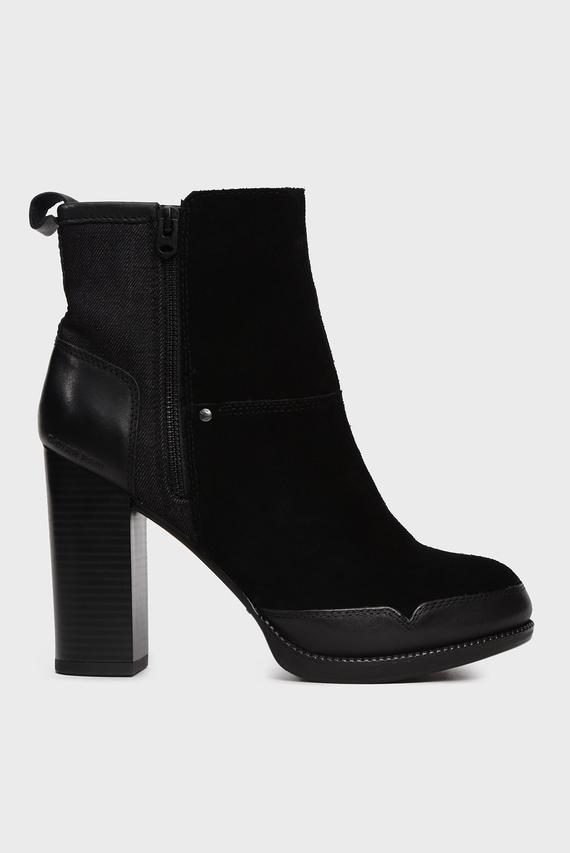 Женские черные замшевые ботильоны Labour Zip