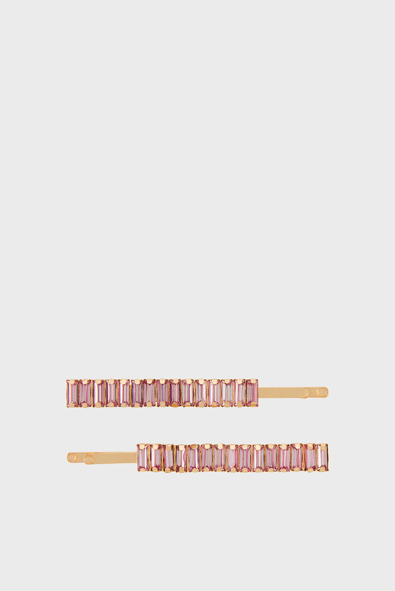 Женские розовые заколки BAGUETTE CRYSTAL (2 шт)