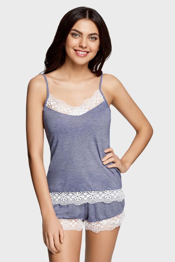 Женская синяя пижама (майка, шорты)