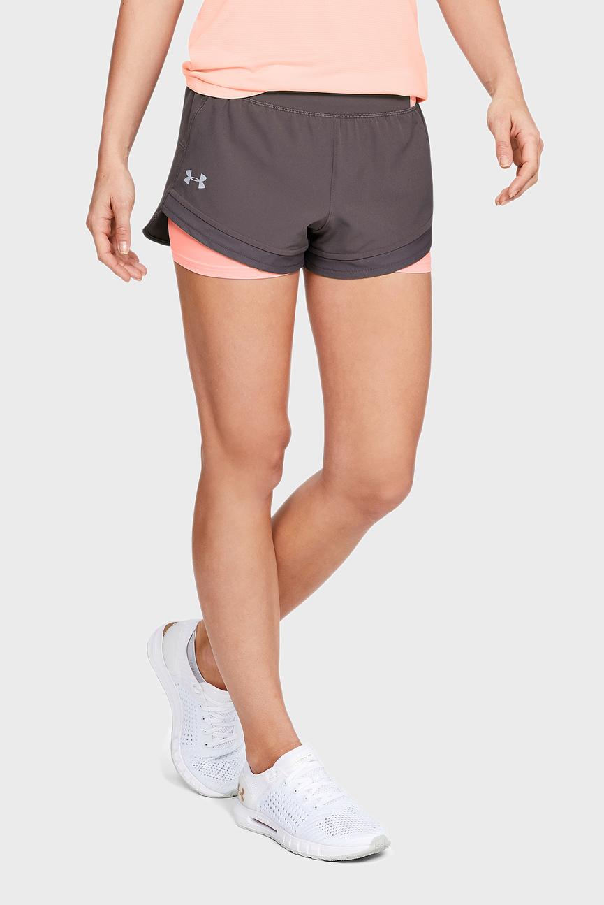 Женские коричневые шорты UA Qualifier SpeedPocket 2-in-1 Short