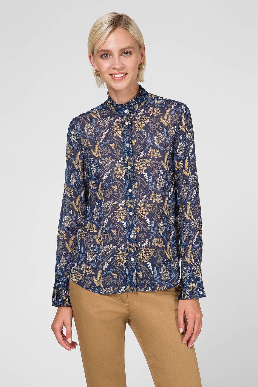 Женская темно-синяя блуза с принтом
