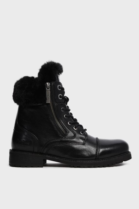 Женские черные кожаные ботинки MELTING RUSS