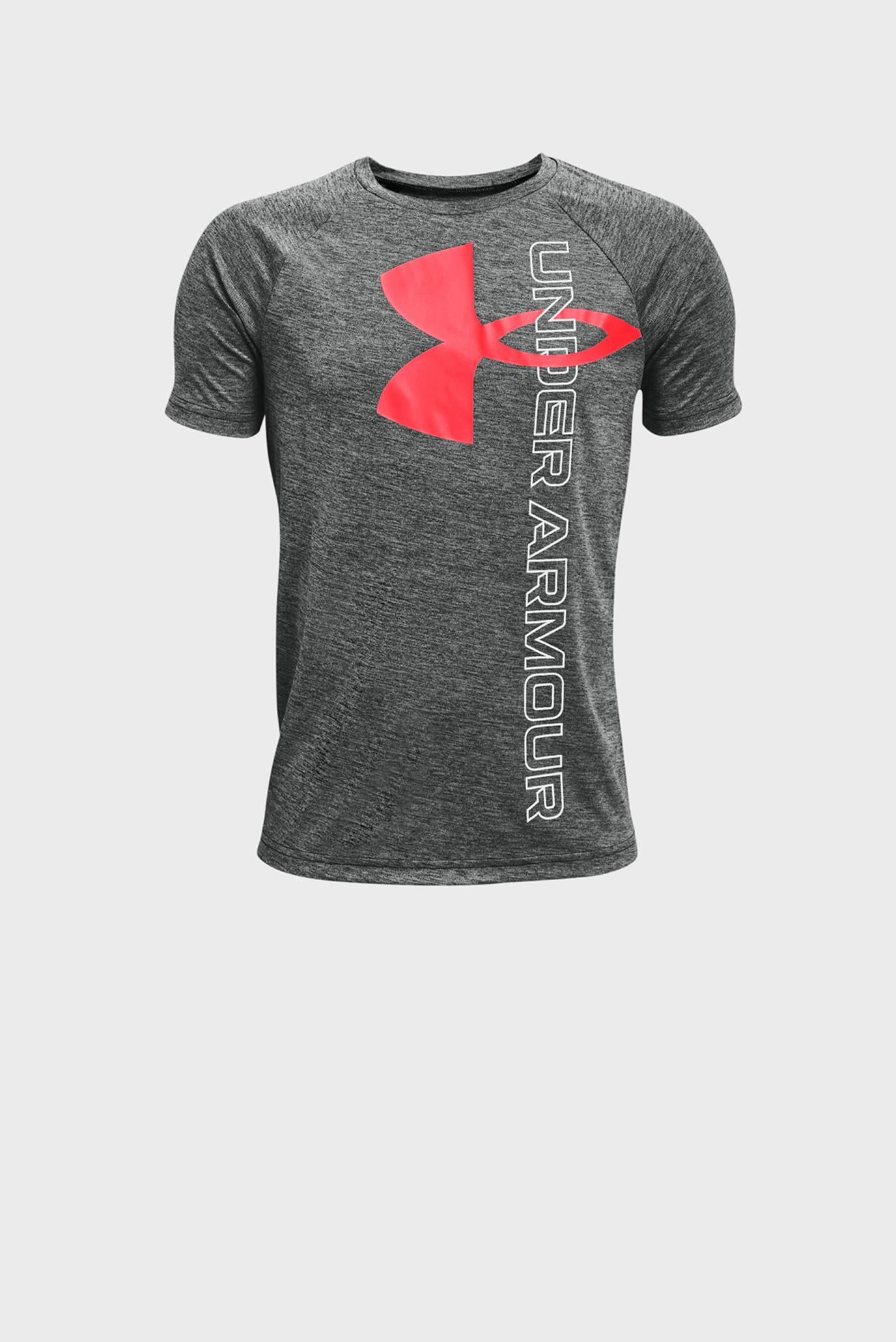 Детская серая футболка UA Tech Split Logo Hybrid SS 1