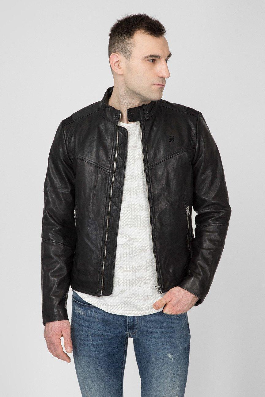 Мужская черная кожаная куртка Motac