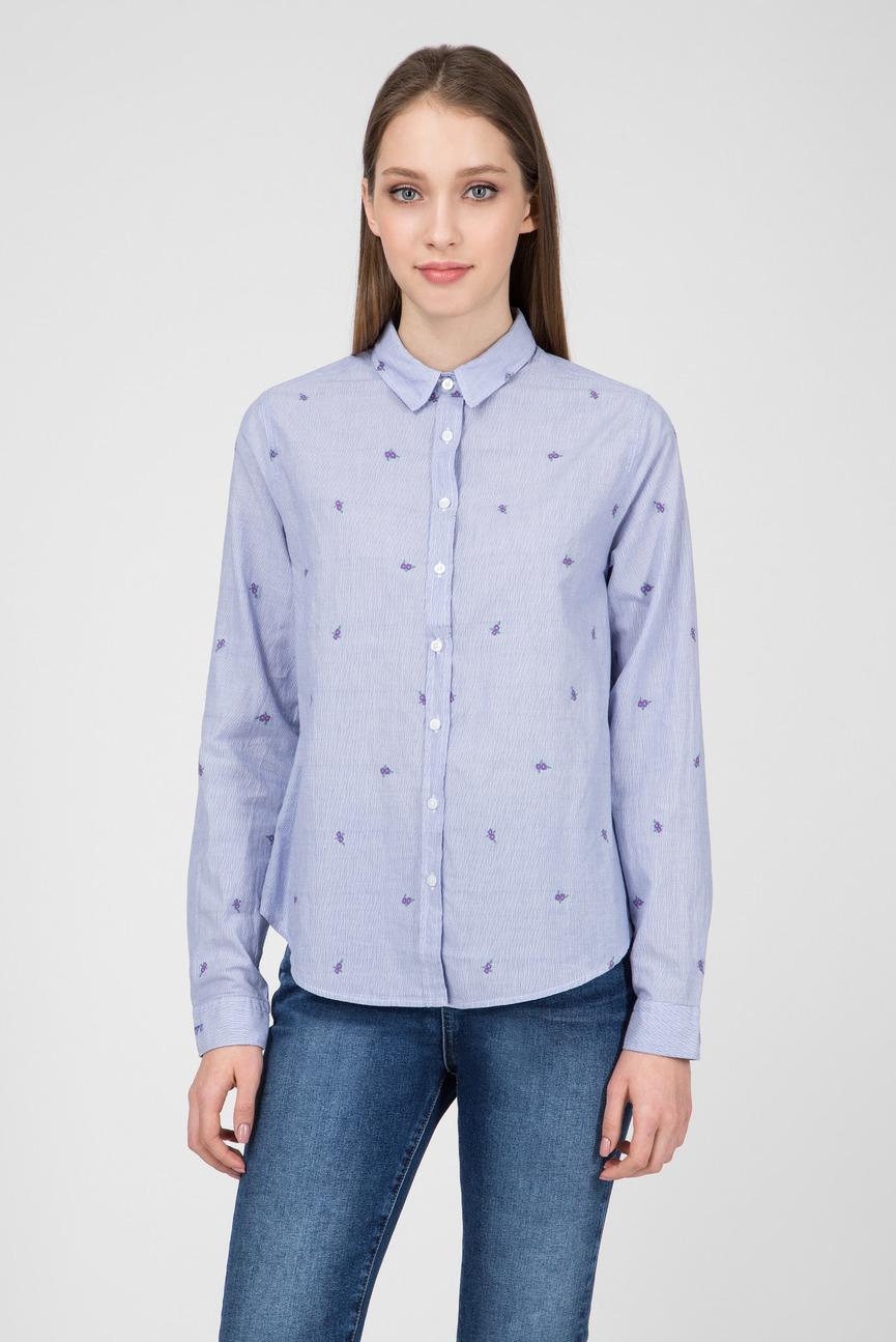 Женская голубая рубашка в полоску EVIA