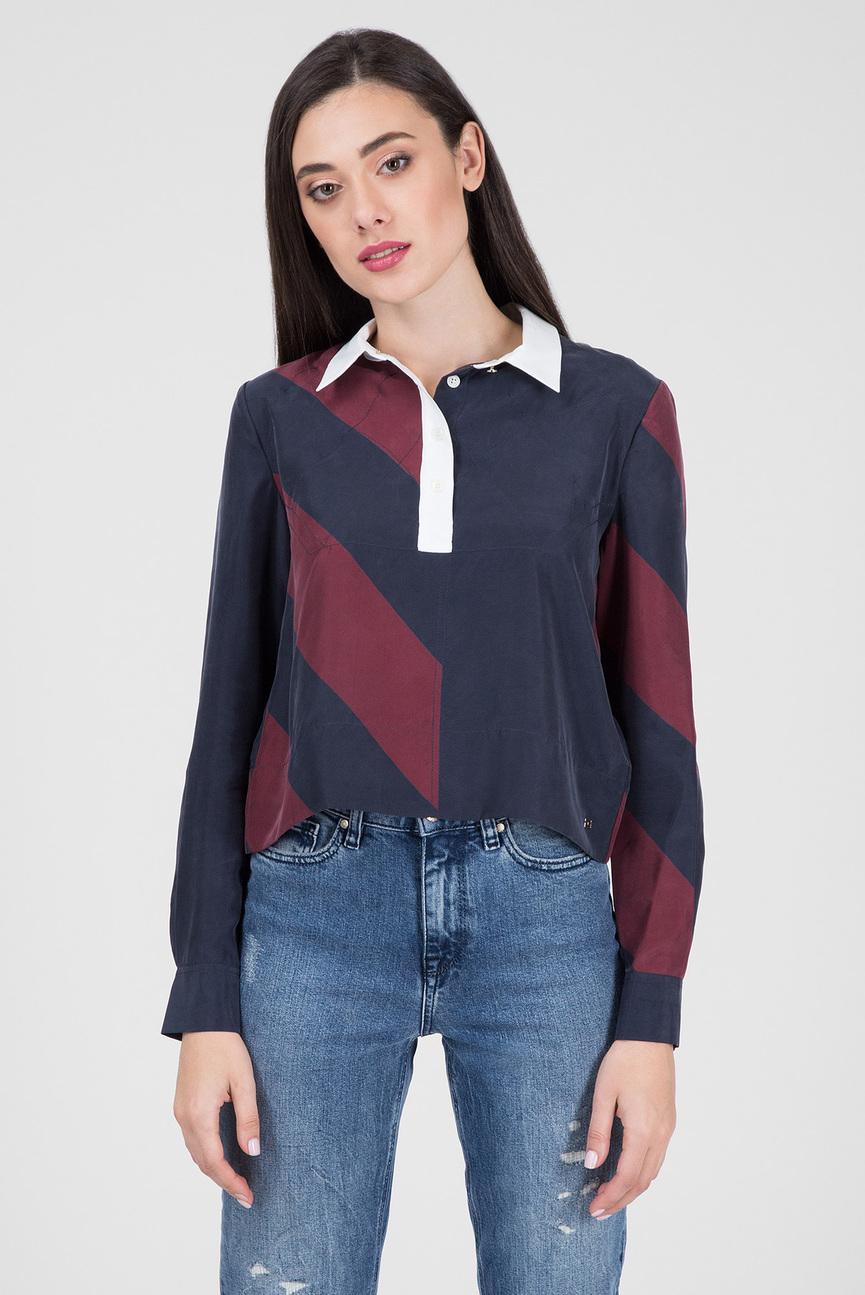 Женская темно-синяя блуза ICON CROPPED SILK BLOUSE