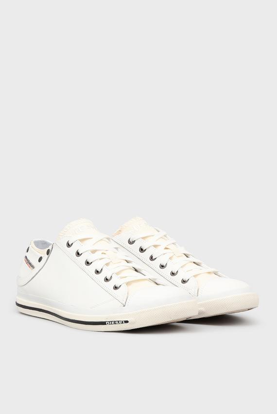 Мужские белые кожаные кеды