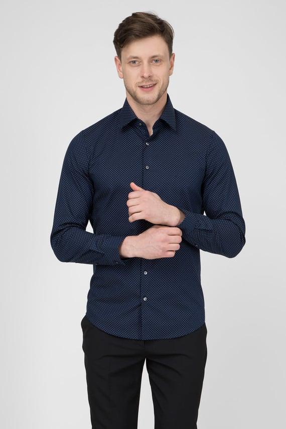 Мужская темно-синяя рубашка PRINTED TWILL Slim Fit