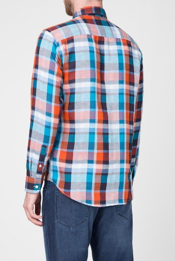 Мужская синяя рубашка в клетку
