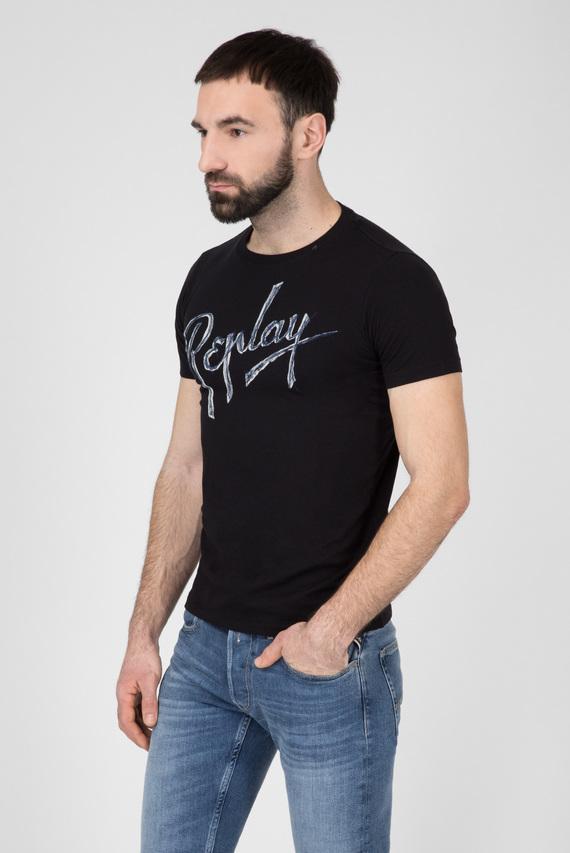 Мужская черная футболка с логотипом