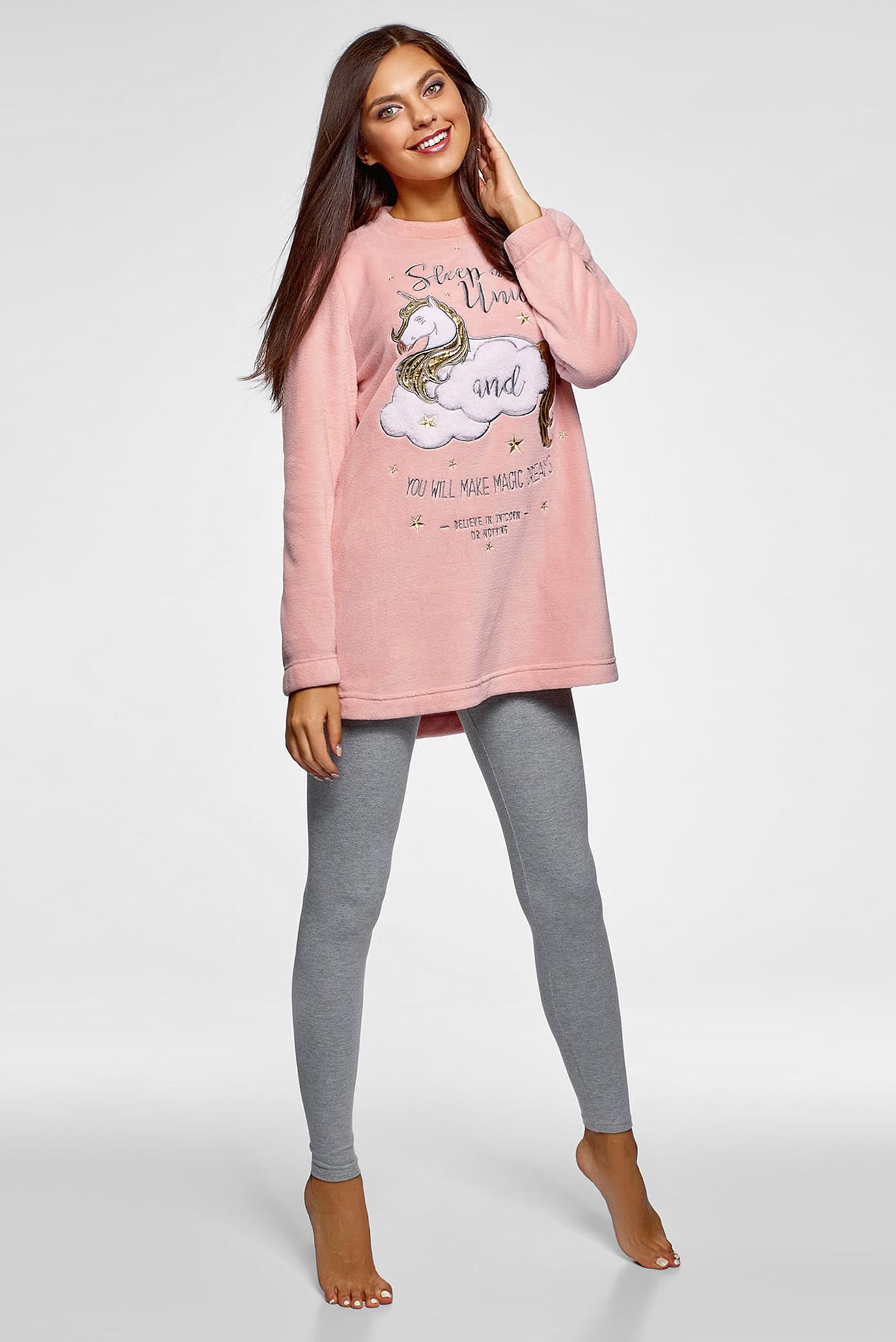 Женский розовый домашний свитшот Oodji