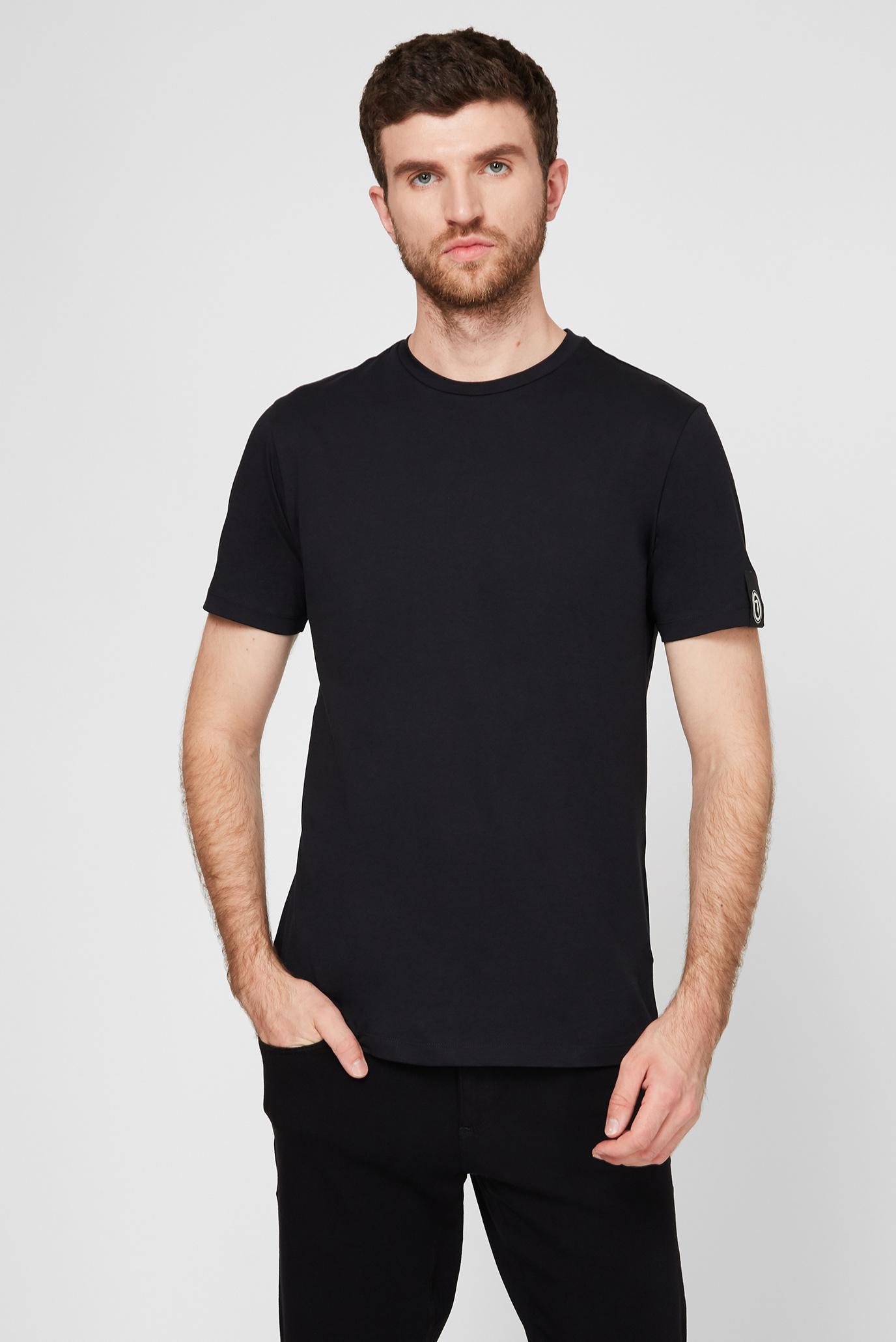 Чоловіча чорна футболка з принтом REGULAR FIT Trussardi Jeans