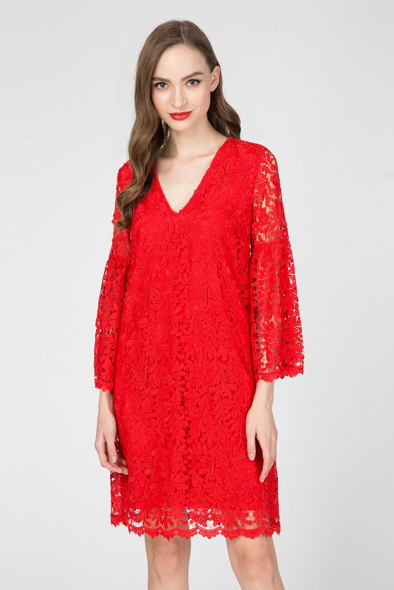 Женское красное кружевное платье MACRAME' LACE