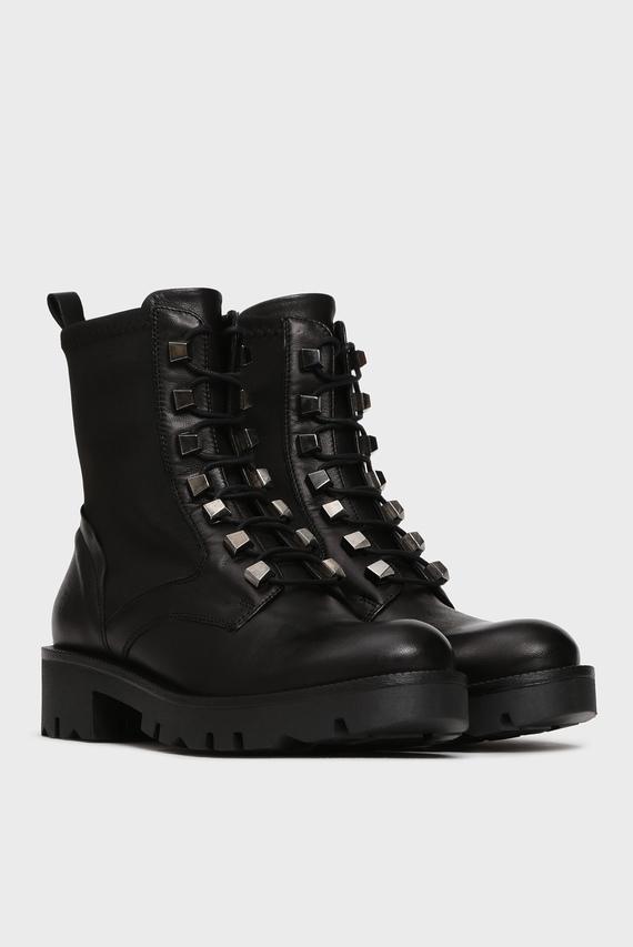 Женские черные кожаные ботинки ZOE