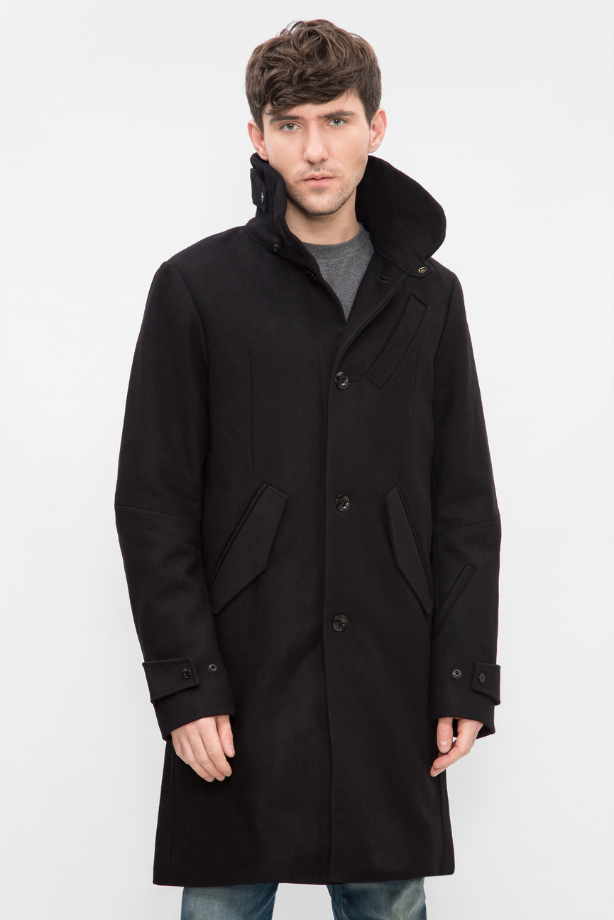 Мужское черное пальто