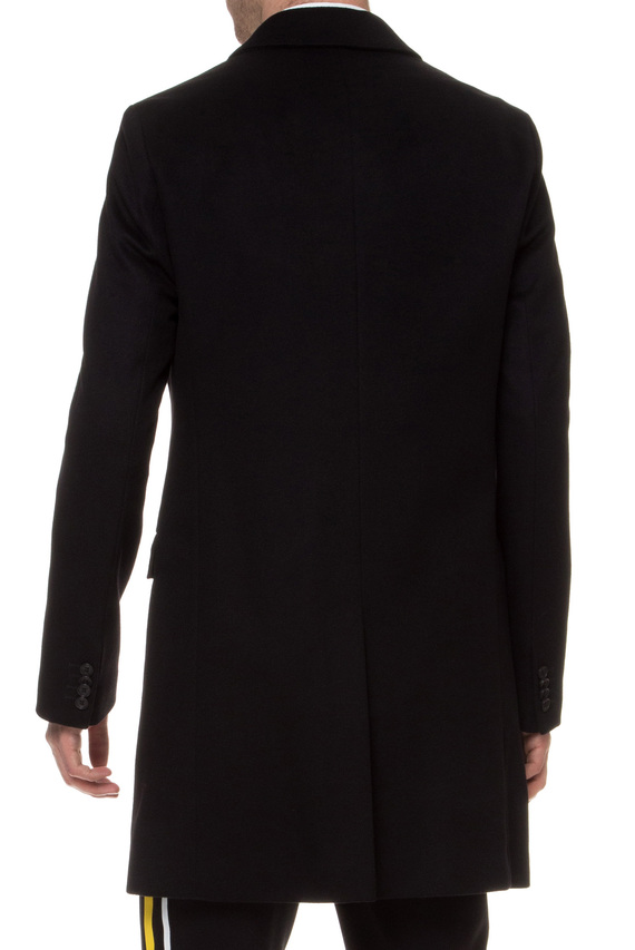 Мужское черное шерстяное пальто