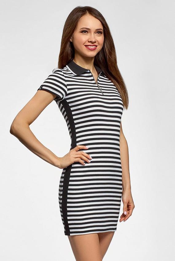 Женское черное платье-поло в полоску