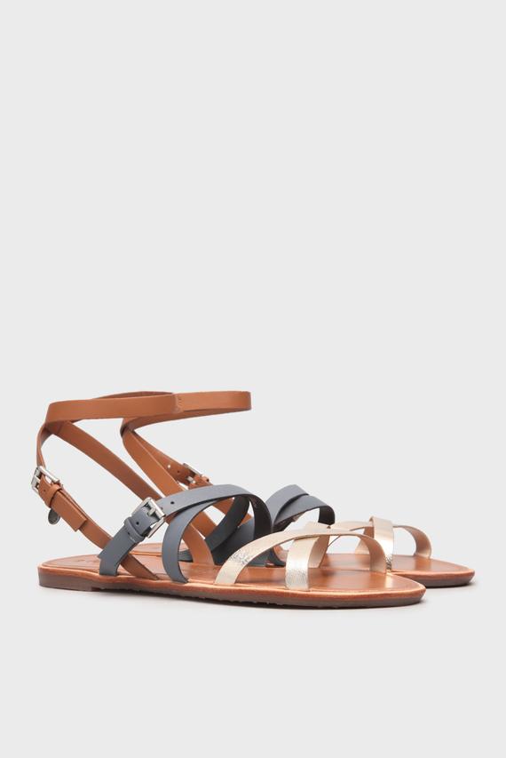 Детские коричневые кожаные сандалии