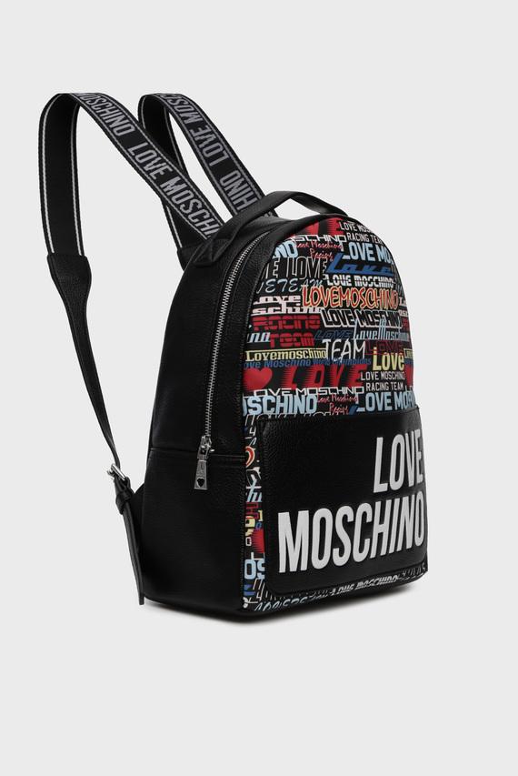 Женский черный рюкзак с принтом