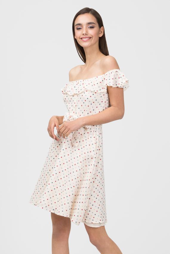 Женское бежевое платье в горошек RINA