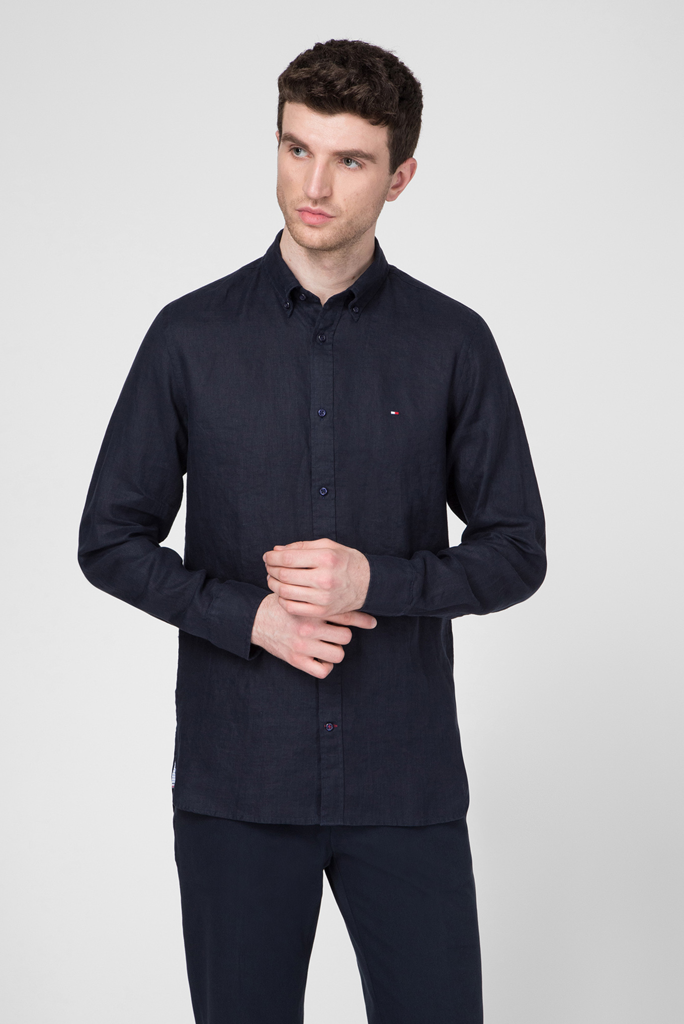 Чоловіча темно-синя лляна сорочка SLIM SOLID LINEN SHIRT 1